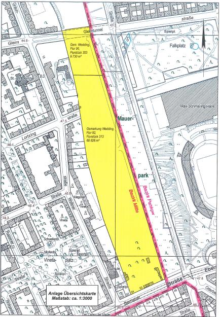 Die gelbe Fläche war bis vor kurzem Gewerbegebiet - in naher Zukunft wird dort eine Park- und Erholungsanlage entstehen