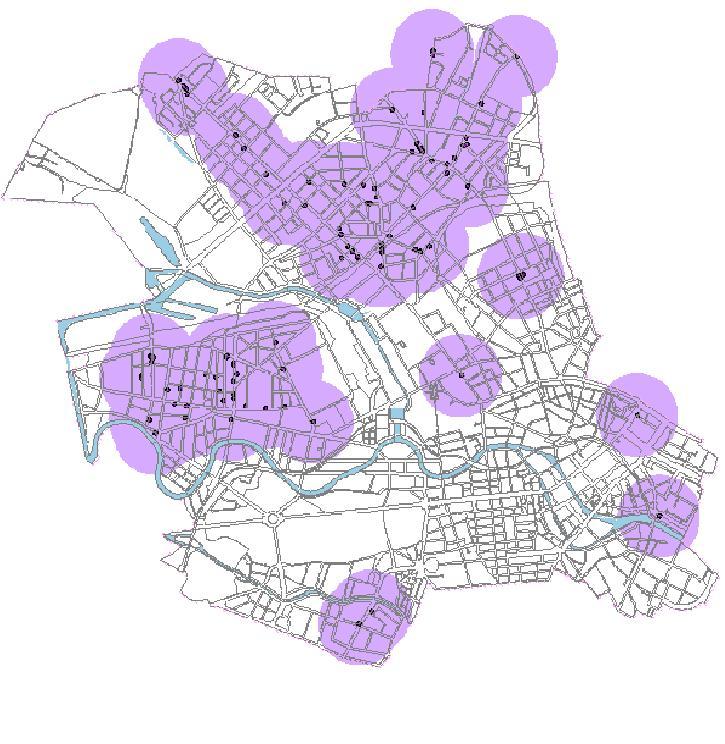 Insbesondere in den Ortsteilen Gesundbrunnen, Moabit und Wedding befinden sich Spielhallen (hier jeweils mit 500m-Radius verzeichnet).